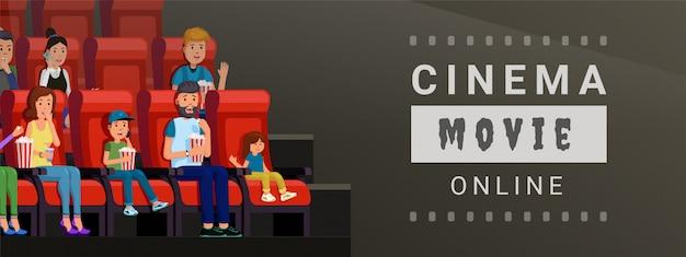 Bannière pour regarder un film de cinéma en ligne à la maison et sur l'illustration vectorielle mobile. concept de style plat design bande de film