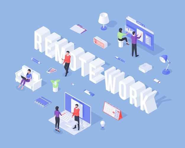 Bannière pour le travail à distance avec des travailleurs en trois dimensions