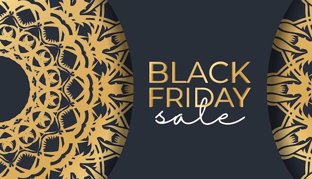 Bannière pour les ventes du vendredi noir bleu foncé avec motif or vintage