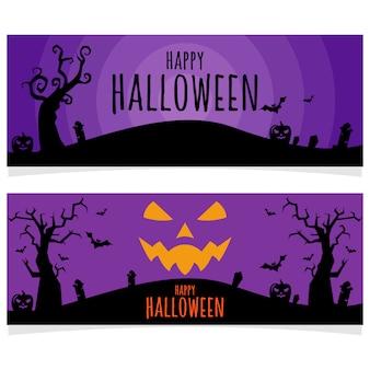 Bannière pourpre halloween