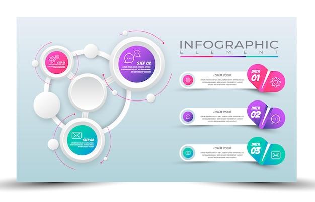 Bannière de présentation infographique étape avec dégradé de couleur