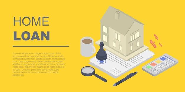 Bannière de prêt immobilier, style isométrique