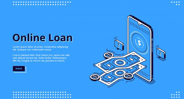 Bannière de prêt en ligne. prêt financier par application mobile ou ordinateur.