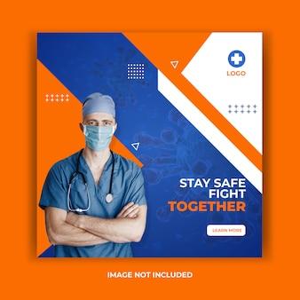 Bannière de prévention pour coronavirus, modèle de publication sur les réseaux sociaux