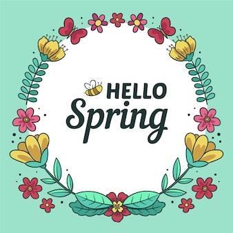 Bannière de printemps bonjour dessinés à la main