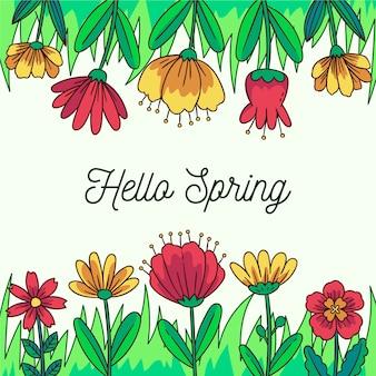 Bannière de printemps bonjour floral
