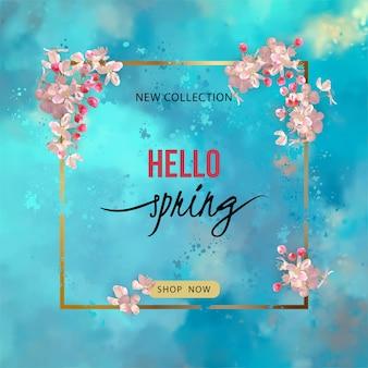 Bannière de printemps avec fleur de cerisier et un cadre