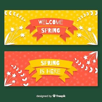 Bannière de printemps plat