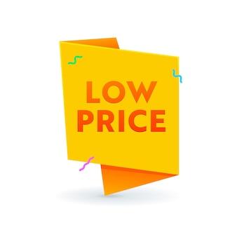 Bannière de prix bas, ruban ou icône isolé sur fond blanc, offre promotionnelle de vente ou étiquette, réduction des coûts, étiquette de remise