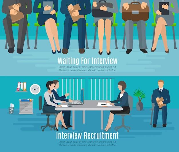 Bannière de processus d'embauche sertie de personnes attendant des éléments plats de l'entrevue de recrutement