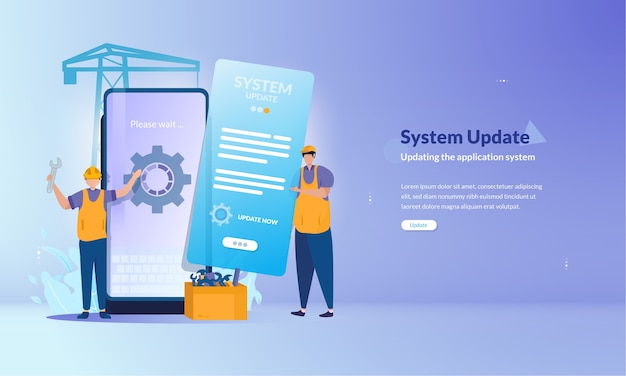 Bannière sur le processus de mise à jour du système sur les applications mobiles