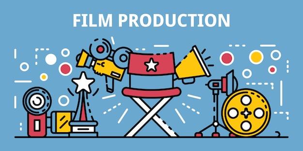 Bannière de production de film, style de contour