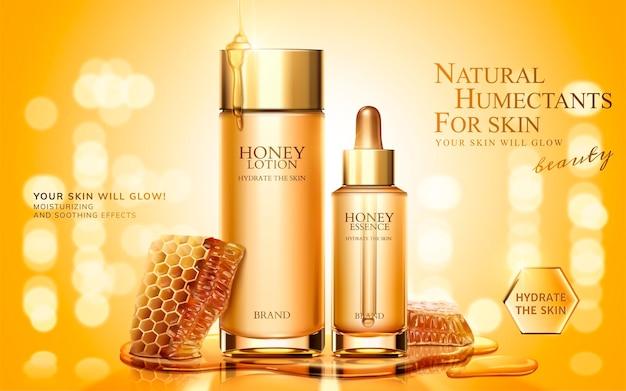 Bannière de produit de soin de la peau au miel avec des nids d'abeilles sur une surface scintillante dorée, illustration 3d