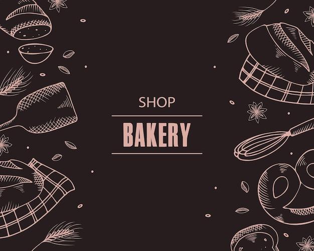 Bannière avec des produits de boulangerie.
