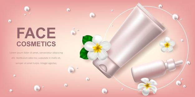 Bannière avec des produits cosmétiques