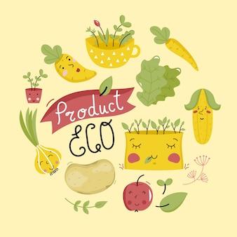 Bannière de produits écologiques avec des personnages de légumes