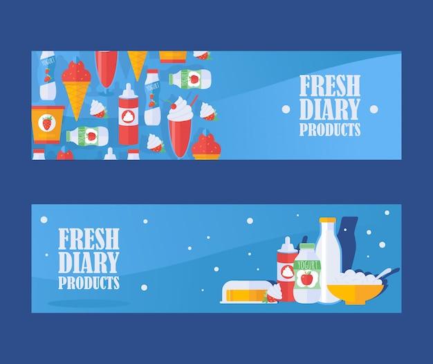 Bannière de produits laitiers frais, illustration. lait, yaourt, fromage cottage, crème fouettée et icônes de la crème glacée. assortiment d'épicerie locale de produits laitiers