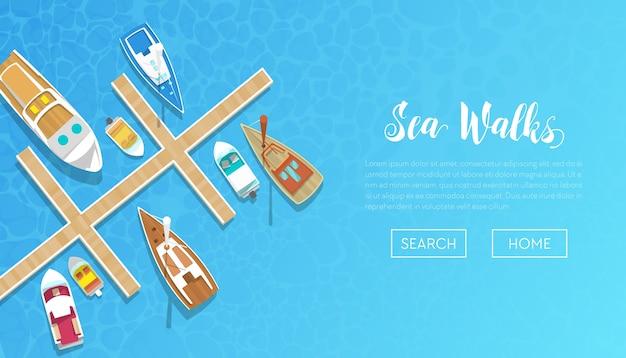 Bannière de promenades en mer avec yachts