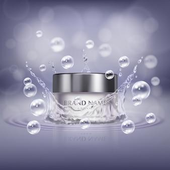 Bannière de promotion avec bocal en verre réaliste de produit cosmétique, bouteille de crème pour les mains ou facial