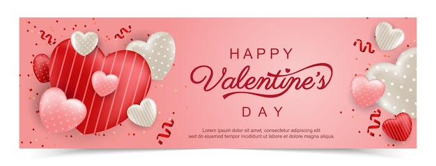 Bannière de promotion de bonne saint valentin avec coeur doux