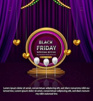 Bannière de promotion du vendredi noir de luxe offre spéciale amour or