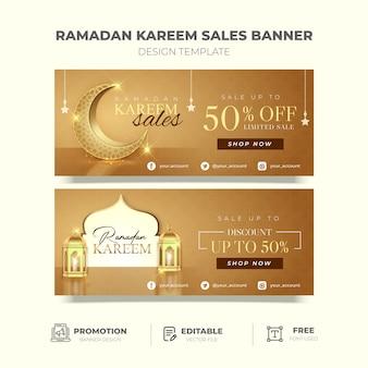 Bannière de promotion élégante ramadan kareem en or