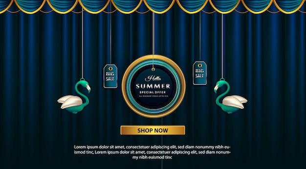 Bannière de promotion d'été de luxe