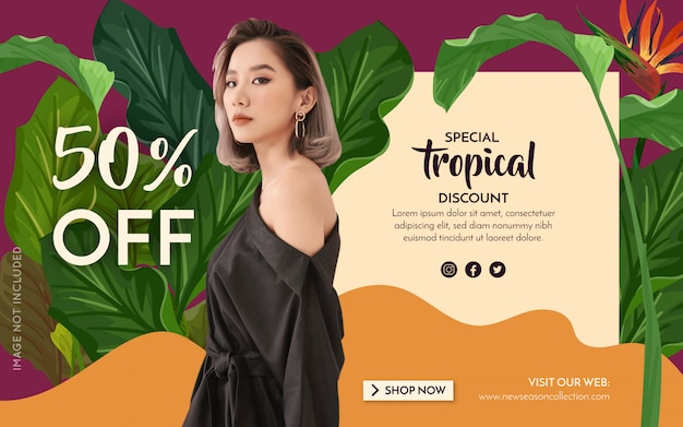 Bannière promotion fashion tropical