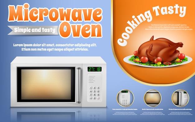 Bannière de promotion avec four à micro-ondes blanc réaliste et poulet rôti aux légumes