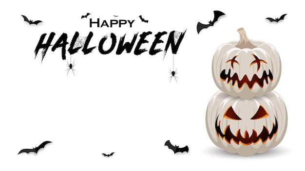 Bannière de promotion d'halloween avec des chauves-souris citrouilles blanches et une araignée