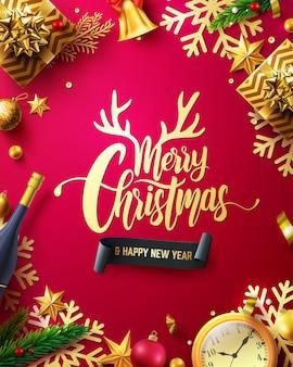 Bannière de promotion joyeux noël et bonne année