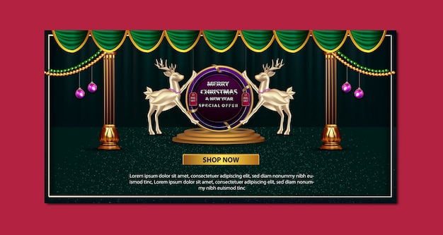 Bannière de promotion joyeux noël et nouvel an