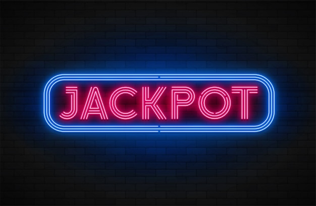 Bannière de promotion linéaire lumineuse au néon, jackpot, jeu, grande victoire.