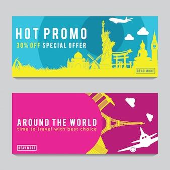 Bannière de promotion lumineuse et colorée