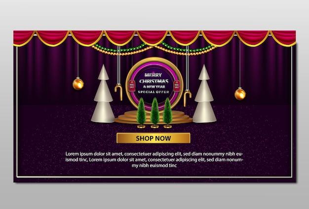Bannière de promotion de luxe joyeux noël et nouvel an