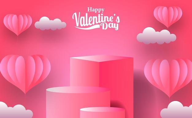 Bannière de promotion de marketing de carte de voeux de saint-valentin avec affichage de produit de podium de scène vide avec style de coupe de papier d'illustration de foyer rose