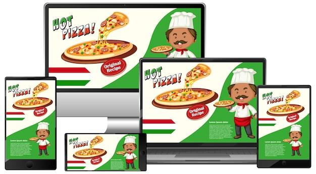 Bannière de promotion de pizza sur les appareils électroniques