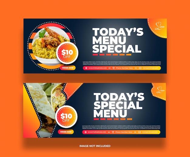 Bannière de promotion de publication de médias sociaux de restaurant alimentaire