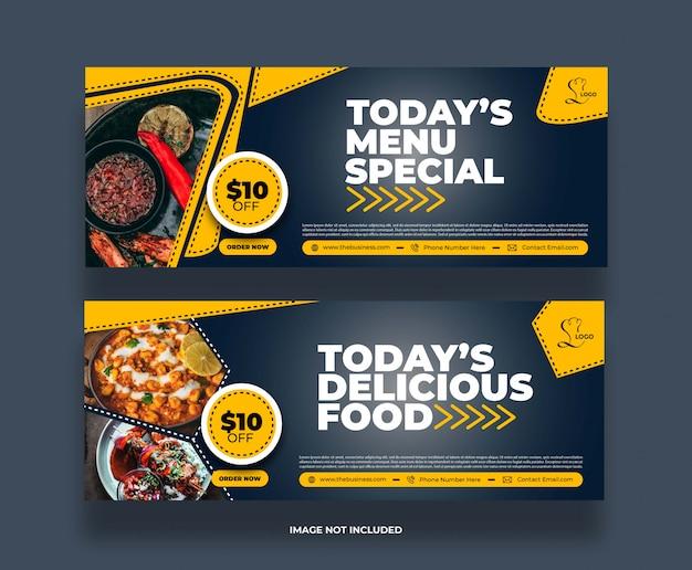 Bannière de promotion de publication de médias sociaux de restaurant de nourriture abstraite minimale