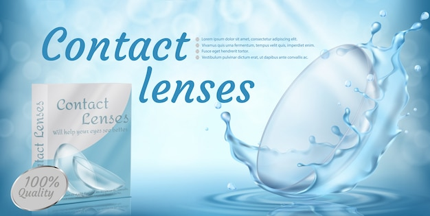 Bannière de promotion réaliste avec des lentilles de contact dans l'eau éclabousse sur fond bleu.