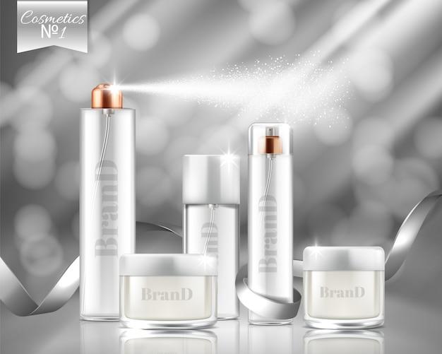 Bannière de promotion réaliste avec vaporisateurs de verre, pots de cosmétiques, gel, crème.