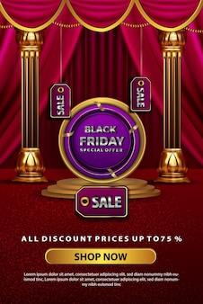 Bannière de promotion de réduction de luxe vendredi noir