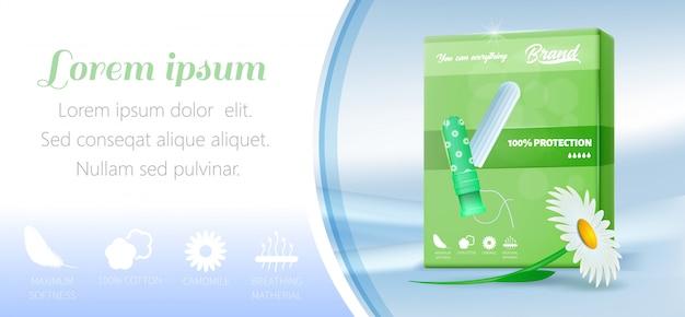 Bannière de promotion avec tampon de coton dans un emballage vert
