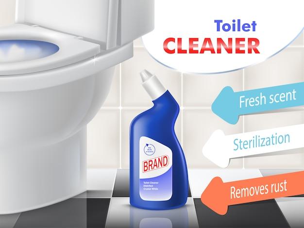 Bannière de promotion de vecteur nettoyeur de toilettes avec bol en céramique blanche dans les toilettes. bouteille en plastique bleu avec