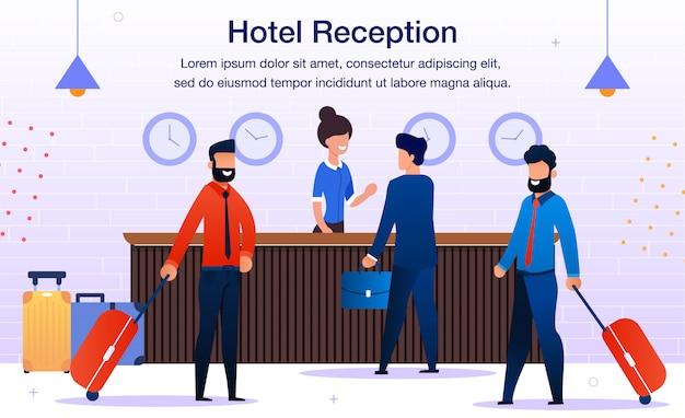 Bannière de promotion de vecteur plat de service de réception d'hôtel