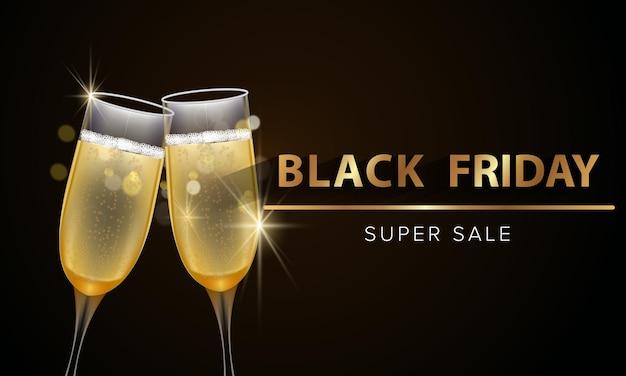 Bannière de promotion de vente du vendredi noir avec des paillettes d'or et des produits d'épicerie au champagne