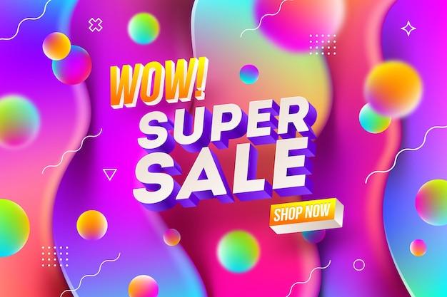 Bannière de promotion de vente avec forme abstraite multicolore.