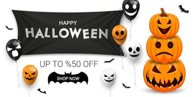 Bannière de promotion de vente halloween avec des ballons effrayants, des chauves-souris et de la citrouille.
