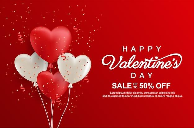 Bannière de promotion de vente heureuse saint-valentin avec des ballons d'amour réalistes