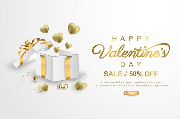 Bannière de promotion de vente heureuse saint-valentin avec boîte-cadeau réaliste sur blanc